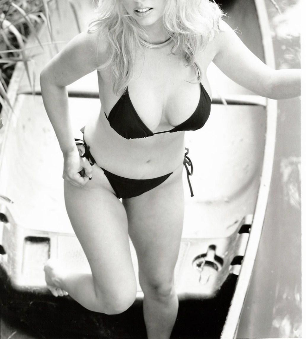 Model Haley in Black White Bikini